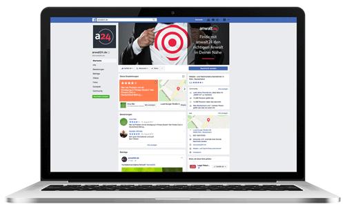 So nutzen Sie die Sozialen Medien! Facebook-Seite von anwalt24.