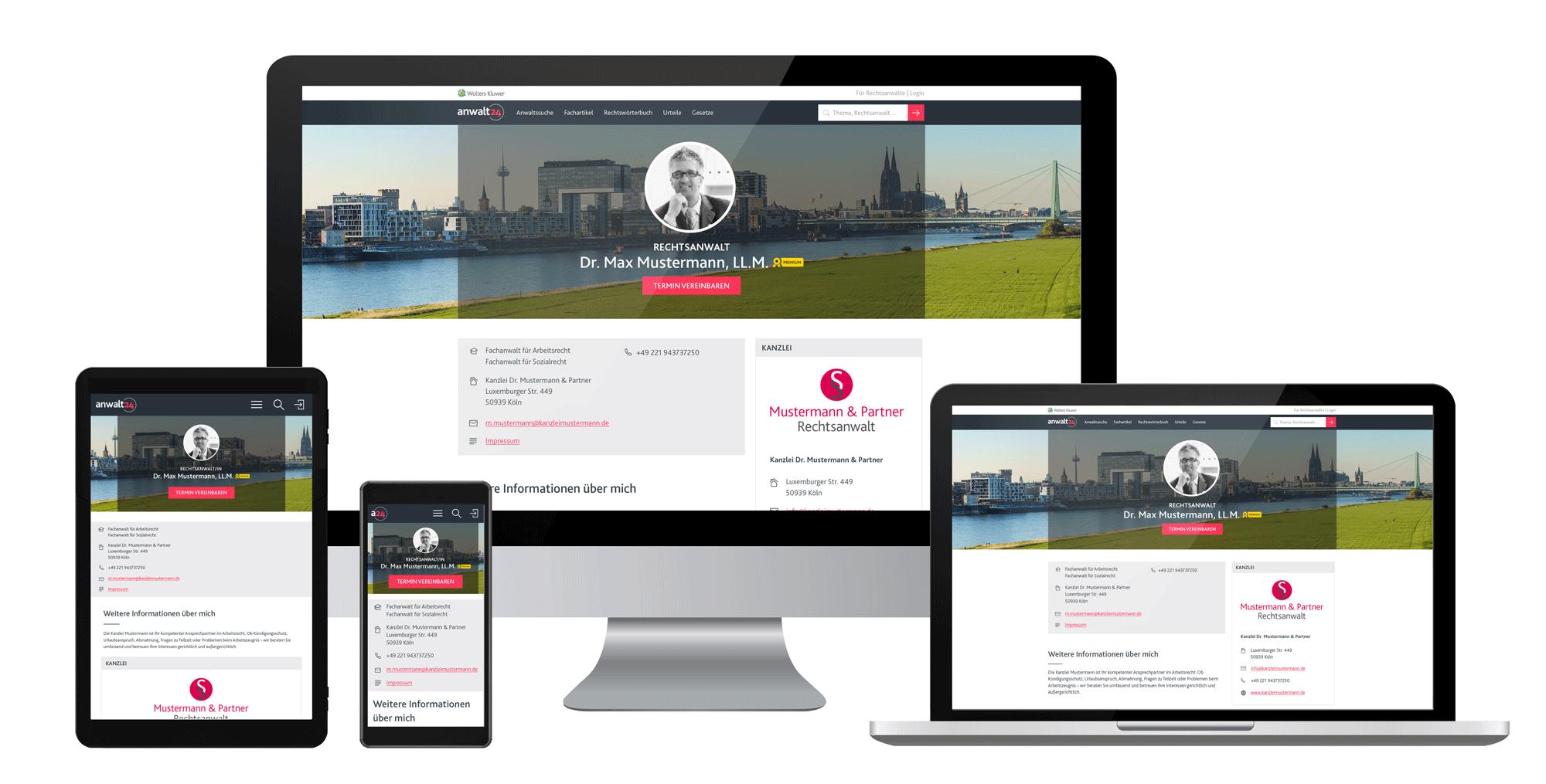 Ihr perfekter Start ins Kanzleimarketing mit einem responsiven Premium-Profil bei anwalt24!