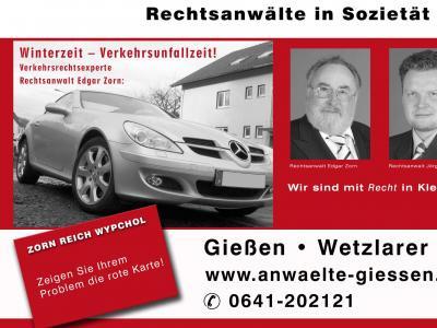 Winterreifenpflicht – Gibt es in Deutschland – jetzt doch, Verkehrsrecht aktuell, Rechtsanwältin Beate Wypchol, Gießen, informiert: